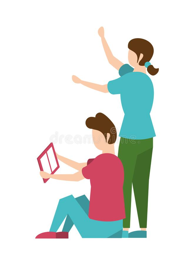 Young couple reading book characters stock illustration