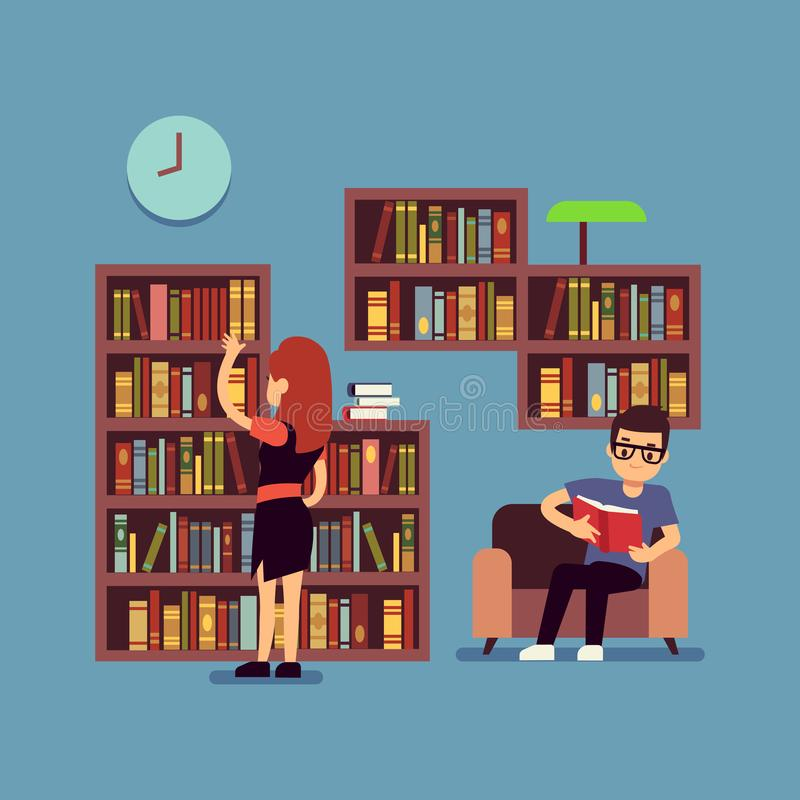 Young couple reading books - flat library or living room concept royalty free illustration
