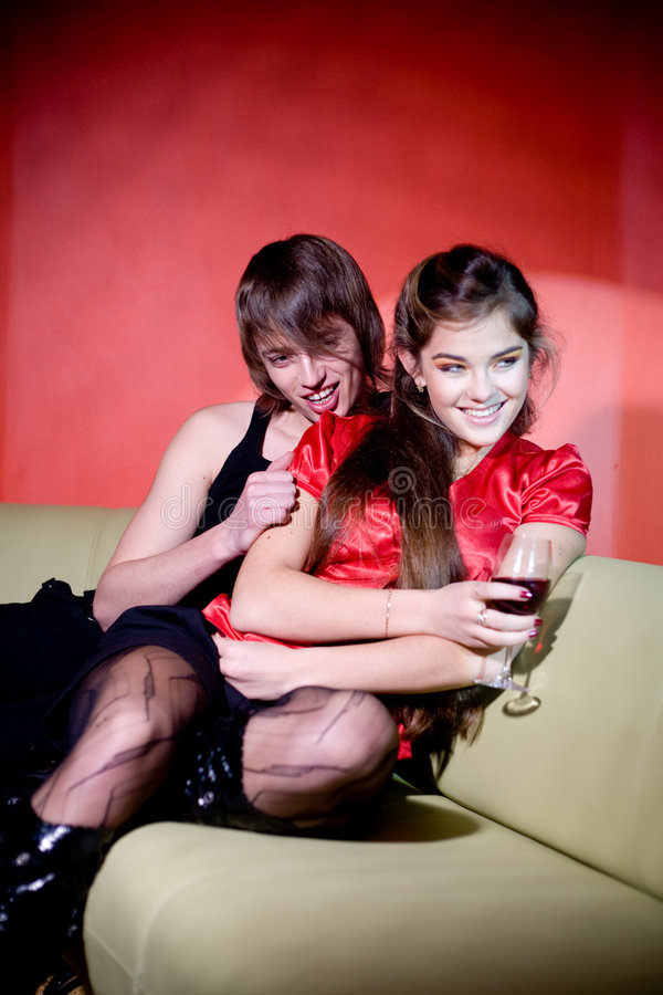 Download Young Couple In Red Interior Stock Photo - Image: 4579696