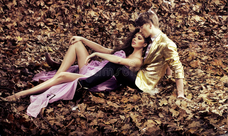 Young couple relaxing during an autumn's day. Couple relaxing during an autumn's day stock image