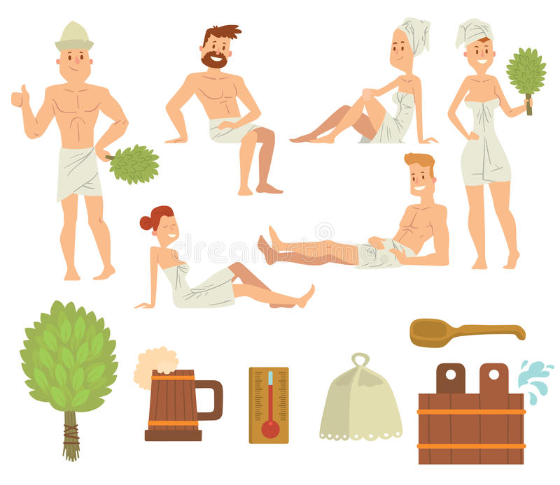 Young couple relaxing in spa health care concept bath people brushing vector. stock illustration