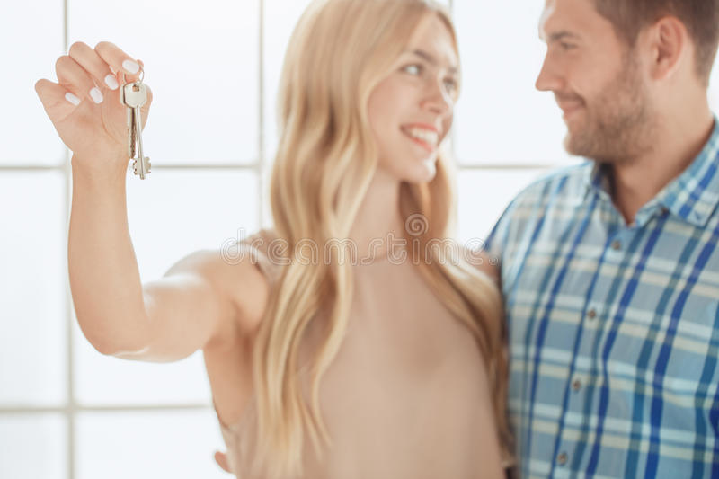 Young couple rent apartment together real estate stock photos