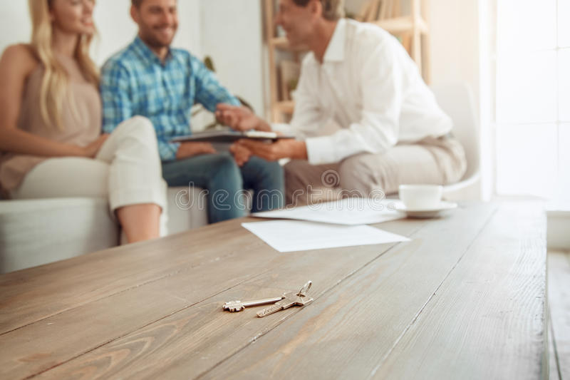 Young couple rent apartment together real estate royalty free stock images