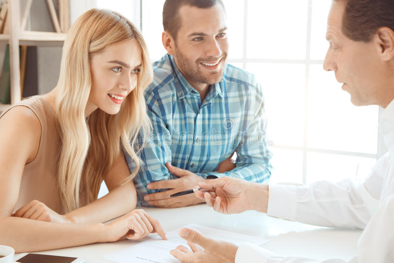 Young couple rent apartment together real estate royalty free stock photos