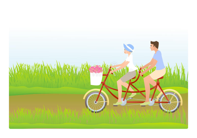 Download Young couple riding tandem stock vector. Image of lover - 14035388
