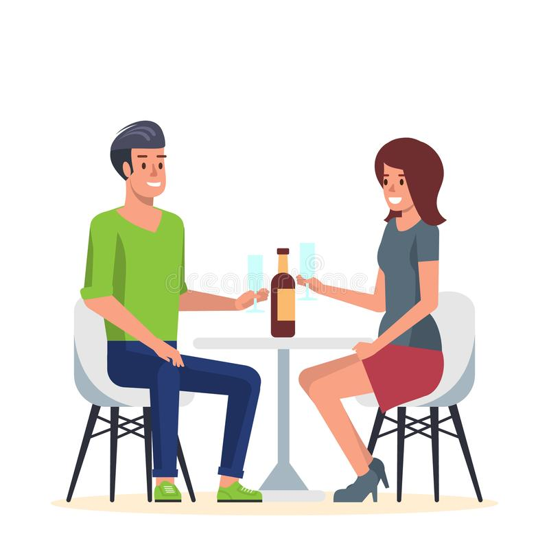 Young Couple in Romantic Date in Cafe. Flat Vector stock illustration