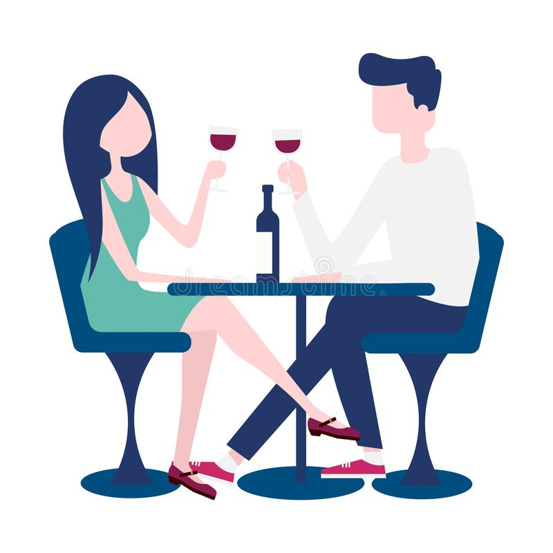 Young couple on a romantic date in a restaurant. Vector stock illustration