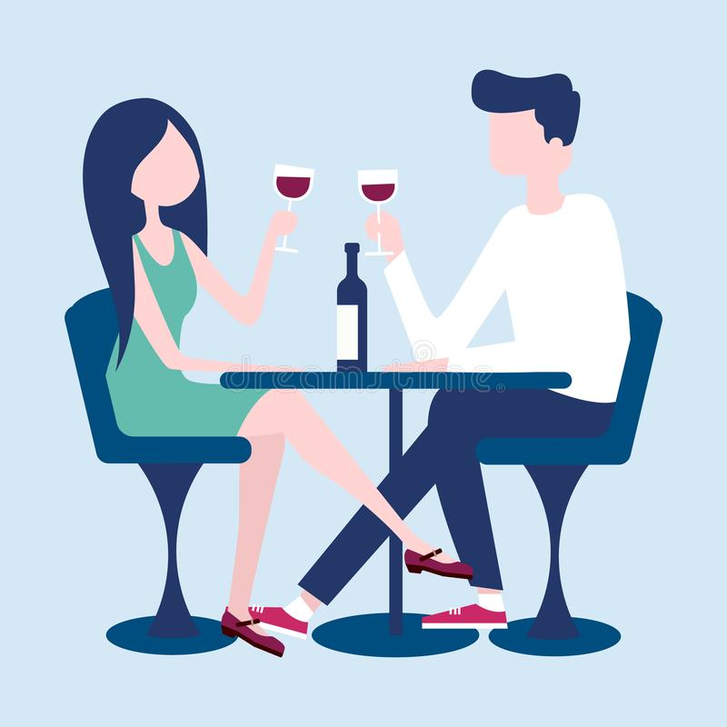 Young couple on a romantic date in a restaurant. Vector vector illustration