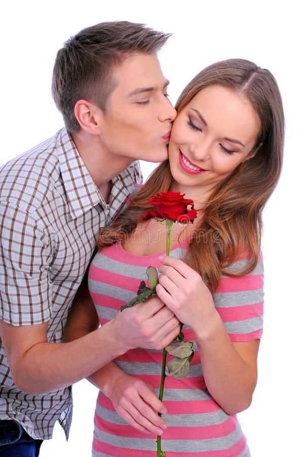 Young couple with rose stock photos