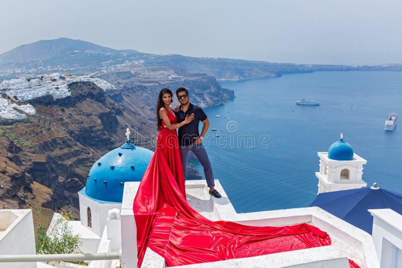 Young couple in Santorini, Greece. Young couple on their honeymoon in Santorini, Greece stock photos