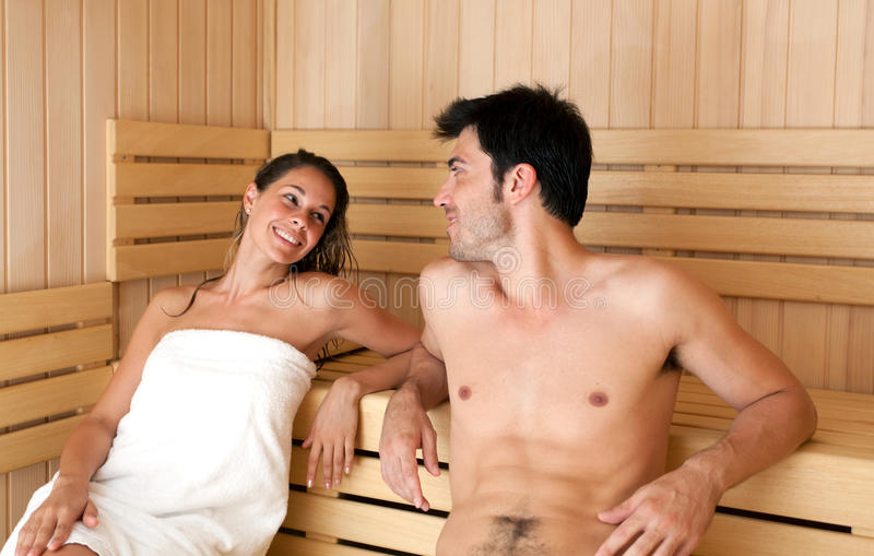 Download Young couple in a sauna stock image. Image of couple - 25975771