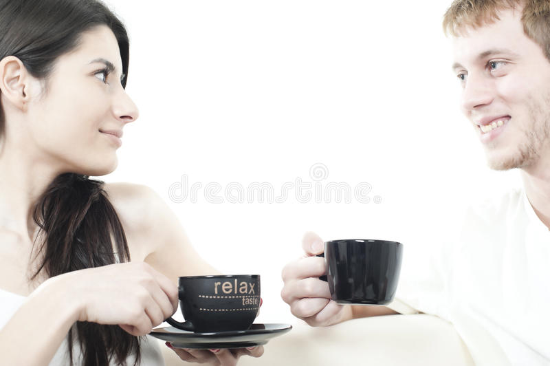 Download Young Couple Sharing Coffee Time Stock Image - Image: 17918505