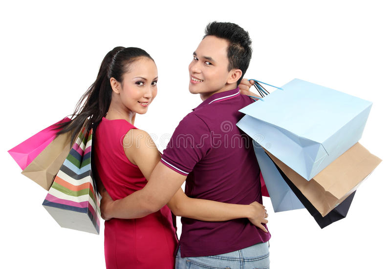 Download Young couple shopping stock image. Image of present, pretty - 24365435