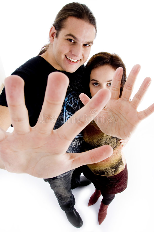 Download Young Couple Showing Their Palms Stock Photo - Image: 7363442