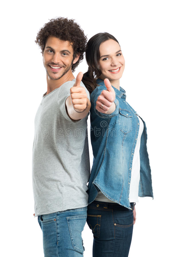 Free Young Couple Showing Thumb Up Royalty Free Stock Photography - 42346727