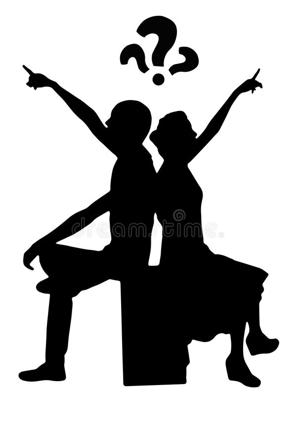 Young couple silhouette sits on the speaker stock photos