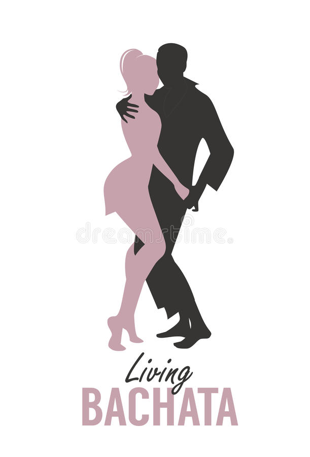 Young couple silhouettes dancing bachata, salsa or latin music. royalty free illustration