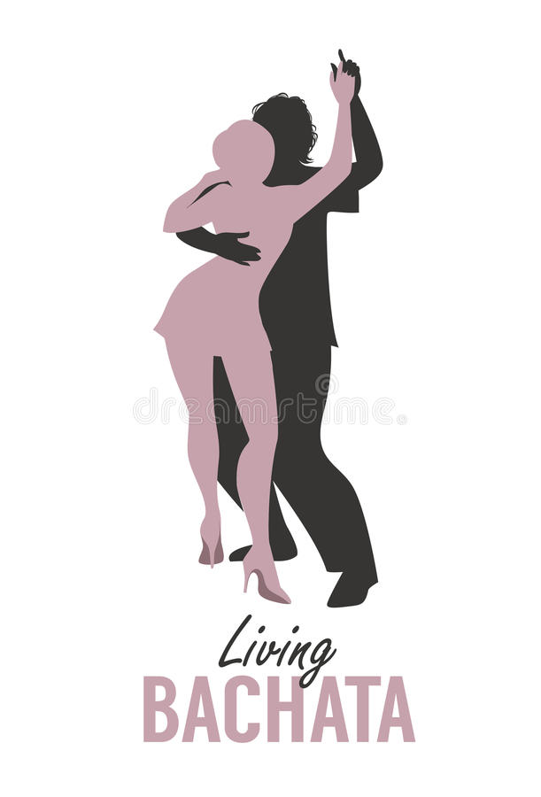 Young couple silhouettes dancing bachata, salsa or latin music. Vector Illustration vector illustration