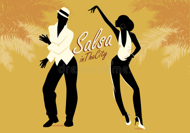Young couple silhouettes dancing salsa or latin music. vector illustration