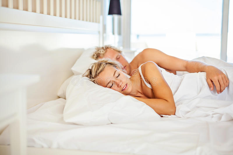 Download Young Couple Sleeping In Bed Stock Image - Image: 28464851