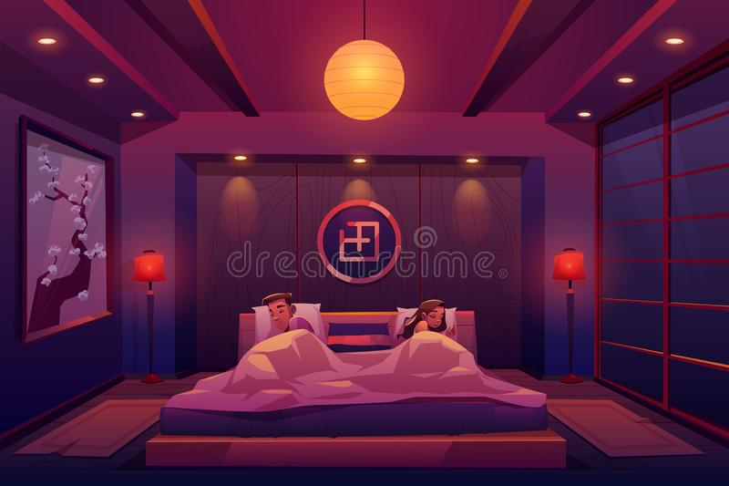 Young couple sleeping in bed, man and woman sleep royalty free illustration