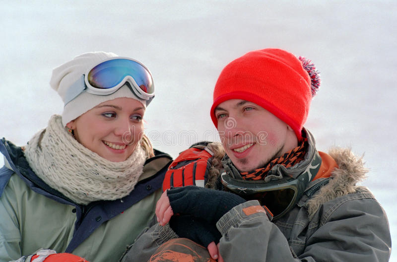 Download Young couple on snow stock photo. Image of cold, love - 13144066