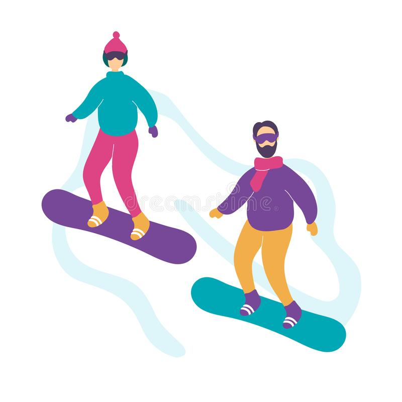 Cute modern young couple snowboarding stock illustration