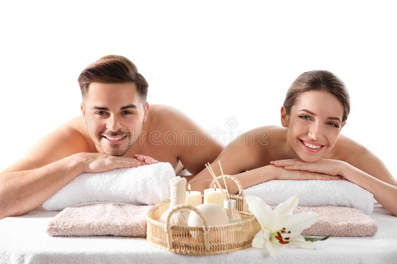 Young couple with spa essentials royalty free stock image