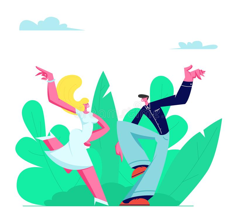 Young Couple Sparetime with Dancing Outdoors, People Active Lifestyle, Man and Woman in Loving or Friendly Relations. Spend Time Together, Disco Dance Leisure vector illustration