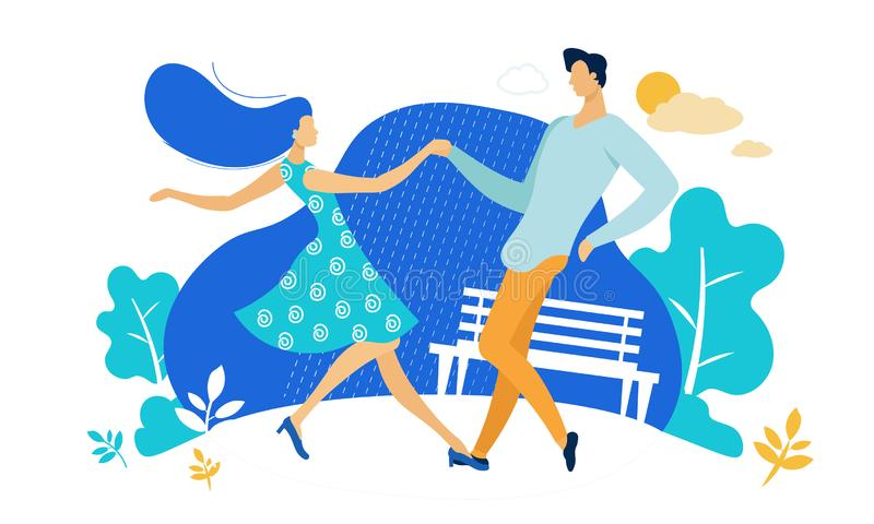 Young Couple Sparetime with Dancing Outdoors. People Active Lifestyle, Man and Woman in Loving or Friendly Relations Spend Time Together, Disco Dance Leisure vector illustration