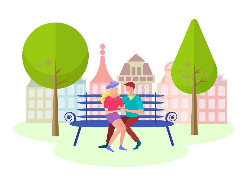 Young couple spend time in the city Park royalty free illustration