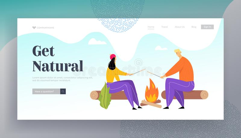 Young Couple Spend Time on Picnic in Summer Camping, Man and Woman Characters Sitting near Campfire Relaxing royalty-vrije illustratie