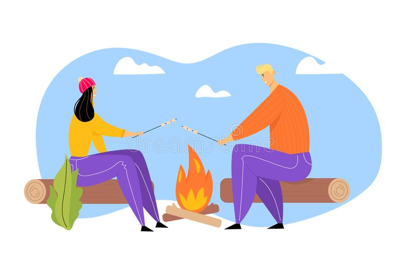 Young Couple Spending Time on Picnic in Summer Camping, Man and Woman Characters Sitting near Campfire Relaxing stock illustratie