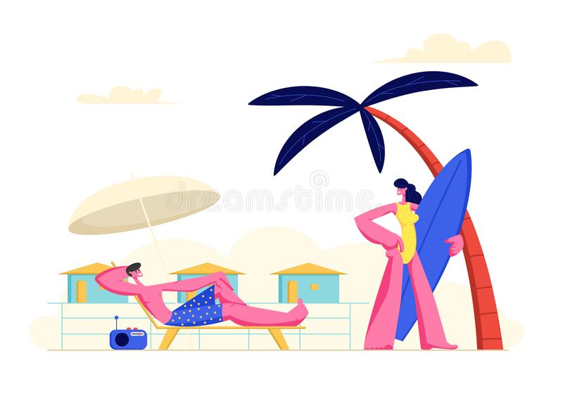 Young Couple Spending Vacation on Beach. Woman Going to Seaside with Surf Board, Man Relaxing on Chaise Lounge Taking Sun Bath royalty free illustration