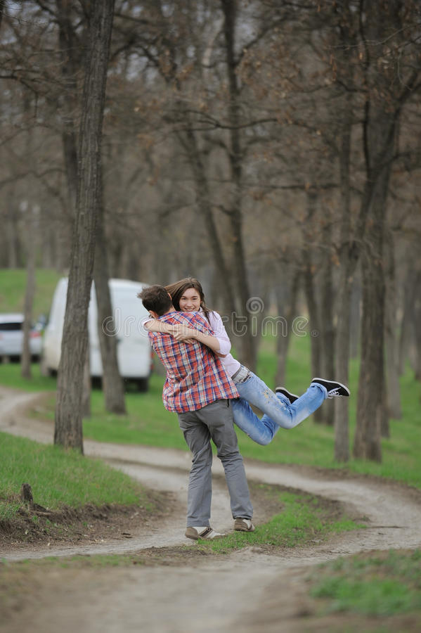 Download Young Couple Spinning Outside Stock Photo - Image of couple, beautiful: 28842374
