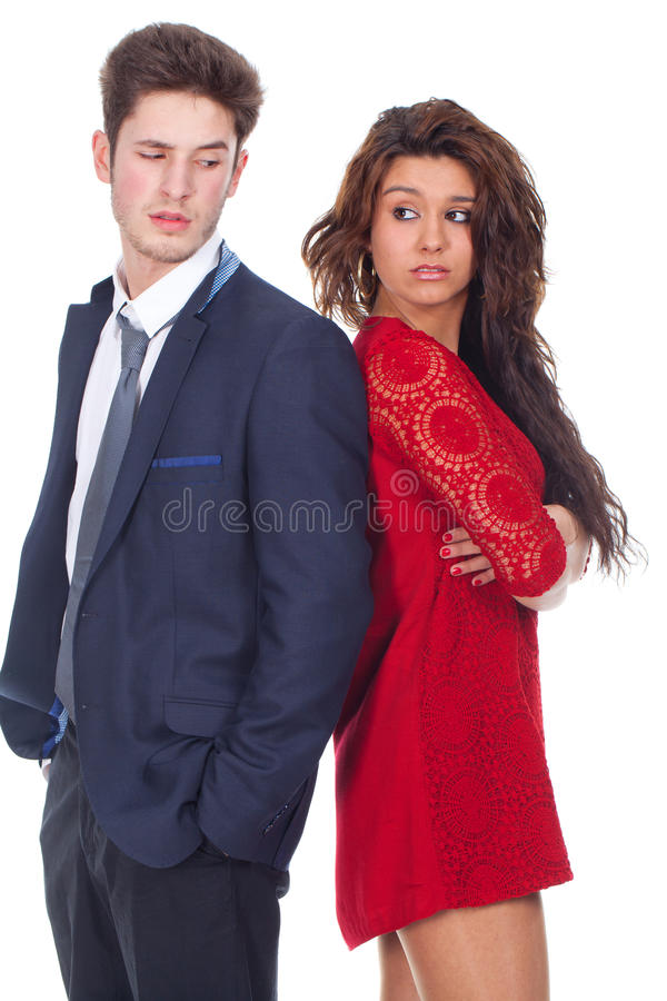 Download Young Couple Standing Back To Back Stock Image - Image of pretty, mixed: 30303515
