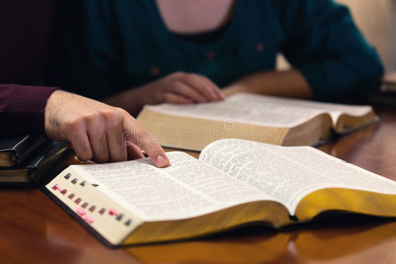 Young Couple Studying The Bible stock photos