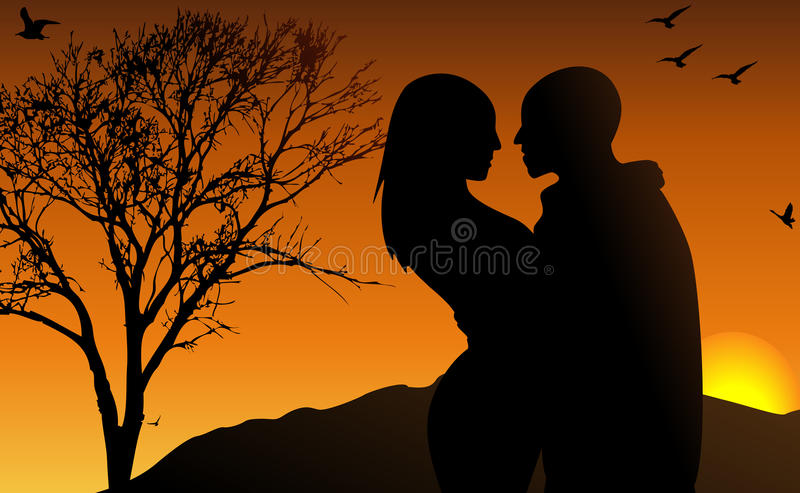 Download Young Couple In The Sun Set Stock Vector - Illustration: 21326478