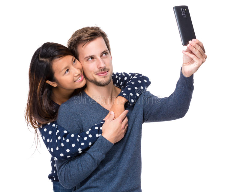Young couple take selfie royalty free stock photo