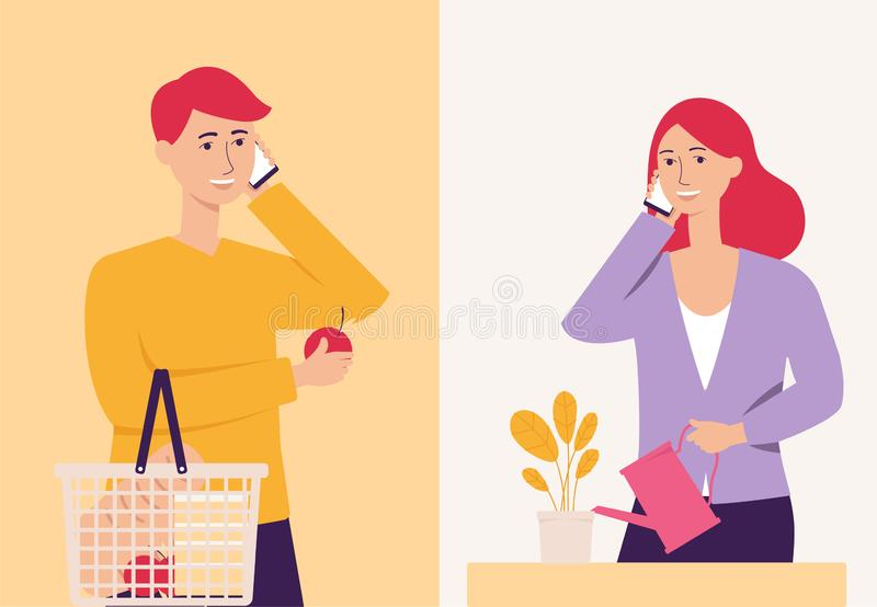 Young couple talking on the phone, happy cartoon man with shopping cart and woman watering a plant having phone call stock illustration