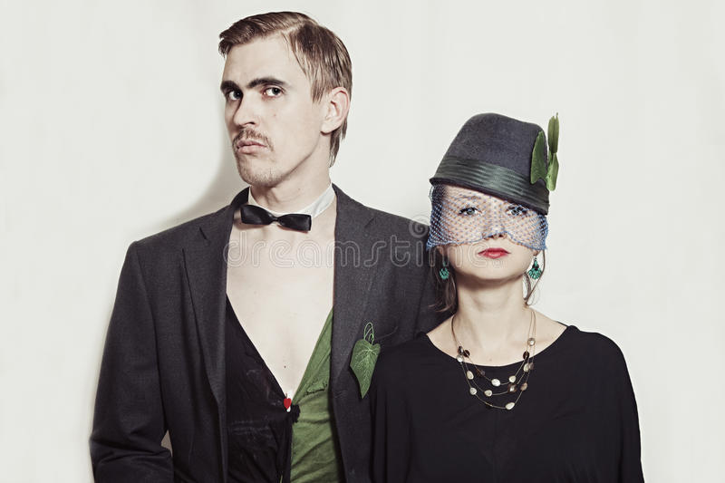 Young Couple Theater Actors In A Retro Style Stock Images