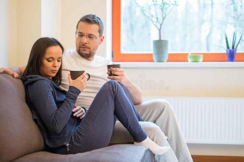 Young couple in their home stock photo