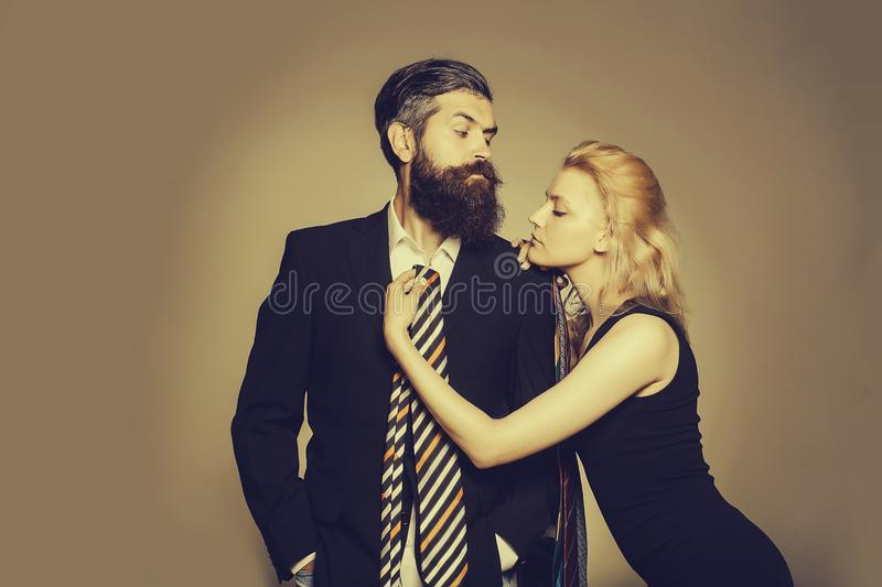 Young couple with tie stock photography