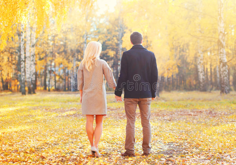 Young couple together holding hands walking in warm sunny autumn day view back. Young couple together holding hands walking in warm sunny autumn day view of back royalty free stock image