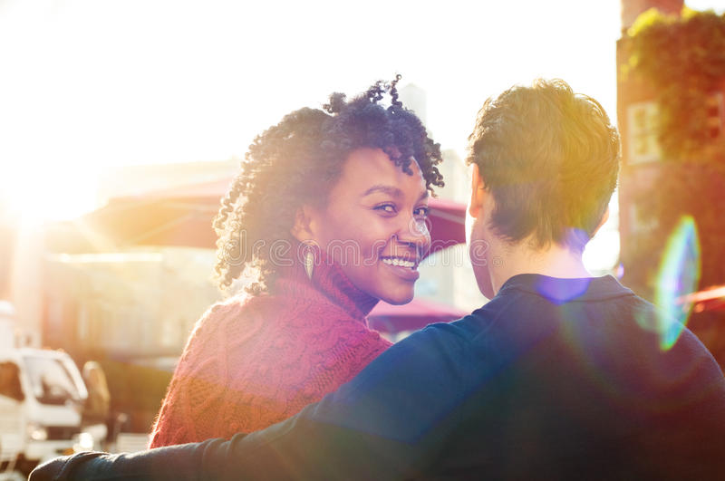 Young couple together outdoor royalty free stock photo