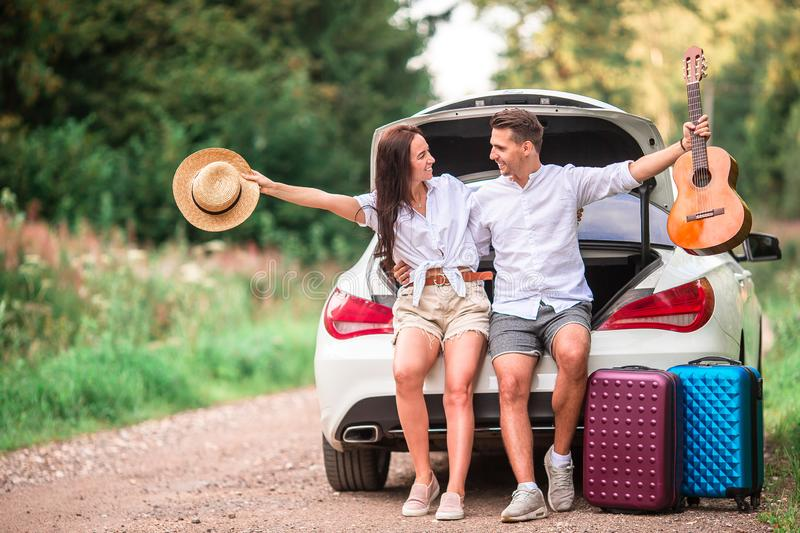 Young couple tourist enjoying on summer vacation stock image
