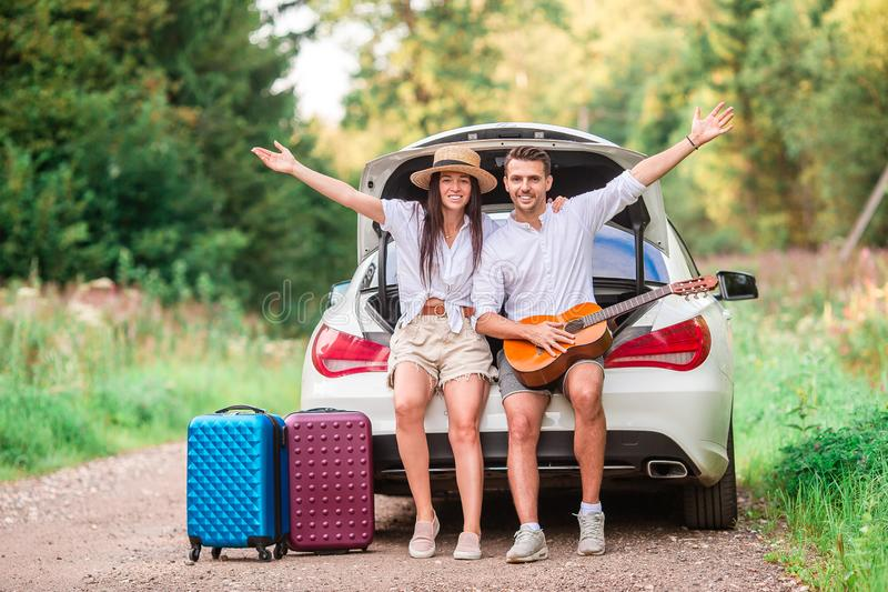 Young couple tourist enjoying on summer vacation stock photos