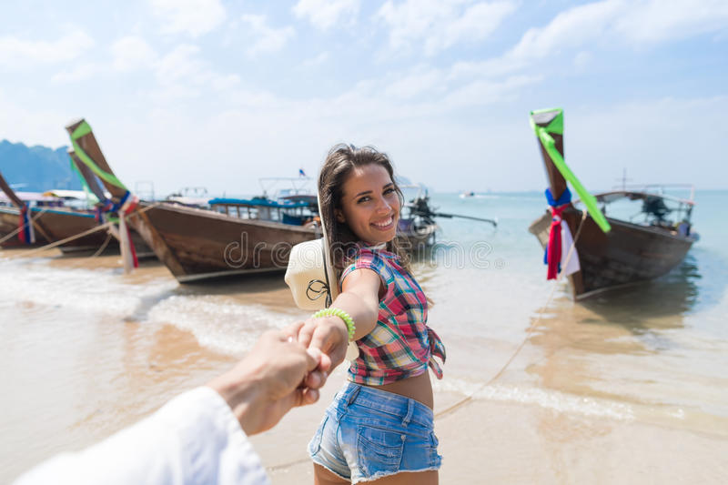 Young Couple Tourist Long Tail Thailand Boat Port Ocean Sea Vacation Travel Trip. Tropical Holiday royalty free stock photos