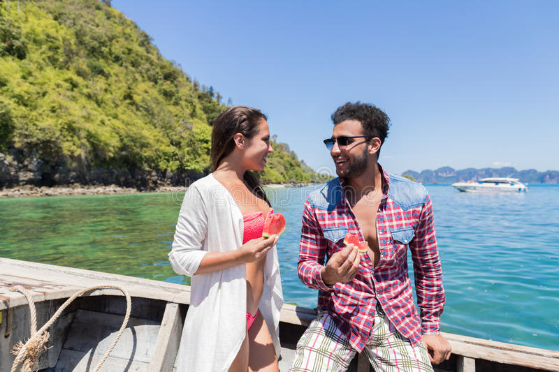 Young Couple Tourist Sail Long Tail Thailand Boat Ocean Sea Vacation Travel Trip stock photography