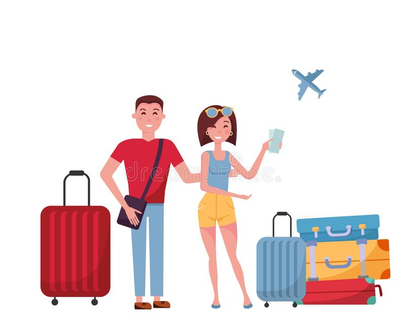 Young couple tourists with suitcases and bags on wheels on white background. scene at airport, search for information in mobile vector illustration